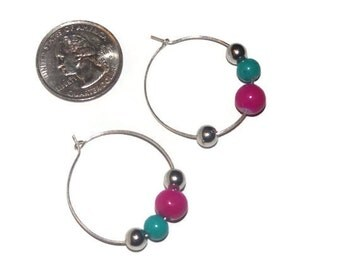 Hoop acrylic glass beaded earrings