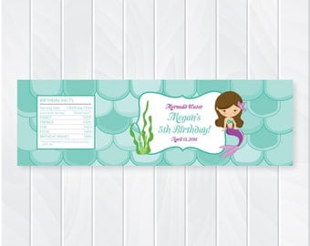 Mermaid Under the Sea Water Bottle Labels | Mermaid Party Decor | Mermaid Party Supplies