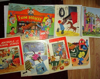 Lot Vintage Little Golden Book Tray Puzzles Vintage 1950s 1960s Childrens Toy Educational