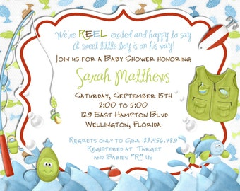 Fishing Baby Shower Invitation   Fish And Rod And Reel   Printed Or Digital  Invite