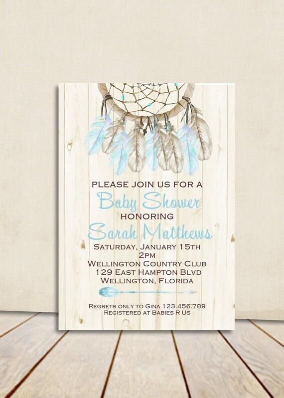 Boho Rustic Wood Dreamcatcher Baby Shower Invitation Blue Boy Printable Shower Custom Invite