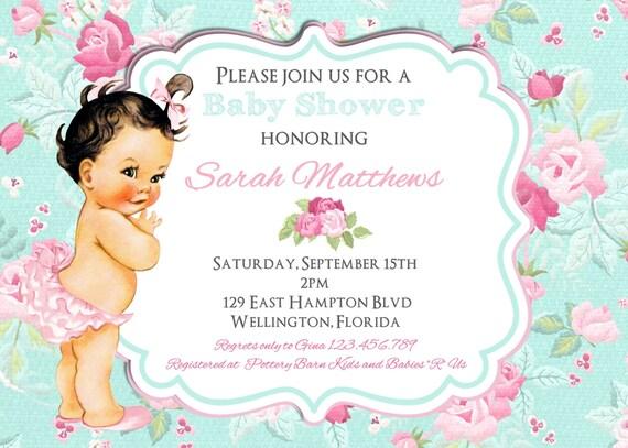 Cottage Chic Baby Shower Invitation Vintage Floral Pink and Blue Rose Printable Custom Invite