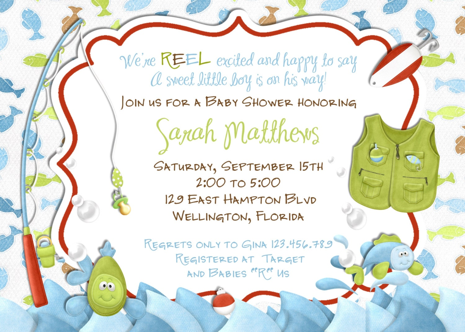 Fishing Baby Shower Invitation - Fish and Rod and Reel - Printed or ...