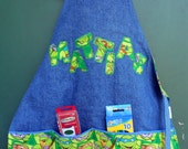 FREE USA SHIPPING, Personalized Ninja Turtle Art Apron, Toddler Boy Turtle Art Smock, Ninja Turtle child's apron, Personalized Apron