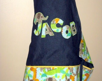 FREE USA SHIPPING, Personalized Art Aprons for Kids, Toddler Apron, Personalized boy art Smock, Cooking Apron, Birthday gift, boy, Jungle