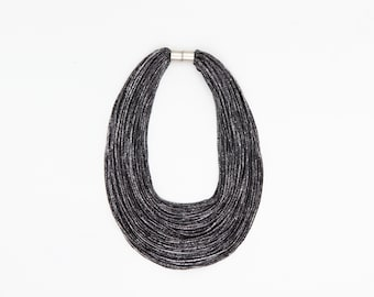 Multi-Strand Black Scarf Necklace - Contemporary Infinity foil print Jersey Textile Fashion Statement Accessory
