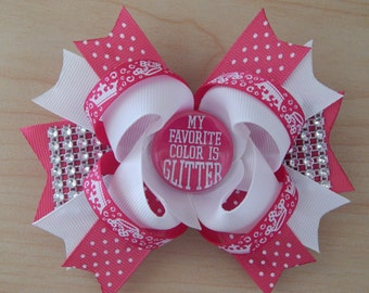 Bling Pink Princess Glamour Girl Hair Bow Over The Top Hairbow