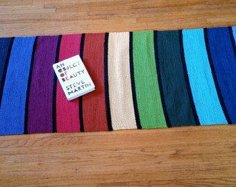 Made to Order Hand-woven Rainbow Rag Rug All Cotton Sturdy