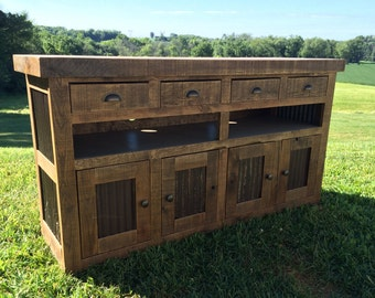 Aged Oak with Metal Console