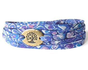 Tree bracelet with blue Liberty fabric, meaningful bracelet gift for her, symbolic jewellery for women, UK gift for strength & support
