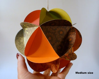 Paper Globe Ornament, DIY kit, Autumn party decoration, rustic DIY wedding decor, Thanksgiving decor, 3d ball ornament, DIY paper crafts