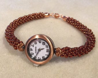 Copper Watch with a Kumihimo braided band