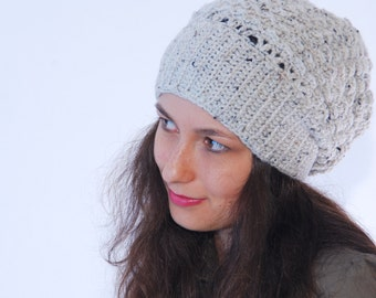 Crochet beanie hat, Merino wool delicate hat, light gray chunky hat, winter ladies hat, slouchy nice hat,  hat online.