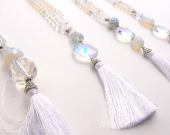 Tassel Necklace, Boho Wedding, Beach Wedding, White, Wedding Jewelry, Bohemian Wedding
