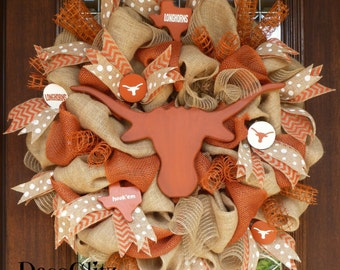 BURLAP and LONGHORNS University of TEXAS Wreath