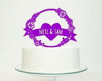 Wedding Cake Topper Personalised Mr & Mrs Name Banner