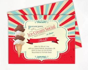 Ice Cream Invitation / Ice Cream Bridal Shower Invitation / Soda Shop Party // Birthday / Baby Shower Invitation l Printable/Printed Invite