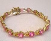Pink Topaz Bracelet - Vermeil - Sterling Silver with Gold Plating - 7 7/8 Inches Long - Made in Canada - Vintage Gemstone Bracelet