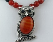 Carnelian and Antique Silver Owl Pendant with Carnelian and Onyx Necklace
