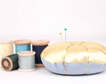 vintage satin pin cushion // blue and yellow