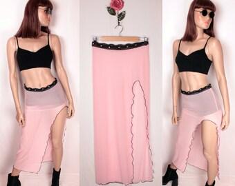 vintage sheer mesh skirt // side slit