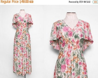 SALE 1970s Flutter Sleeve Dress / Vintage 70s Boho Maxi Dress / Size Small
