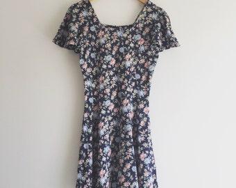 Vintage 90's Navy Floral Mini Dress / Babydoll Grunge Dress S