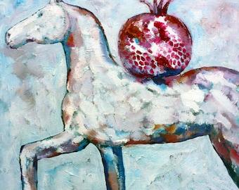 Original oil on canvas horse painting small art by Elisaveta Sivas