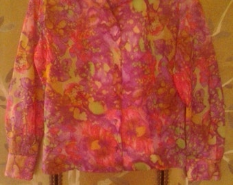 60s sheer psychedelic acid trip purple blouse