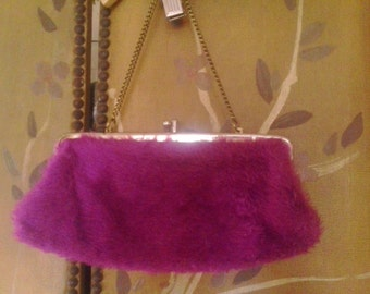 80s purple fluffy chain handle clutch purse