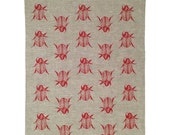 Red Christmas Beetle linen tea towel (Natural and off-white)