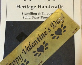 Heritage Handcrafts  Brass  Happy Valentine's Day   Dry or Wet Emboss  Stencil