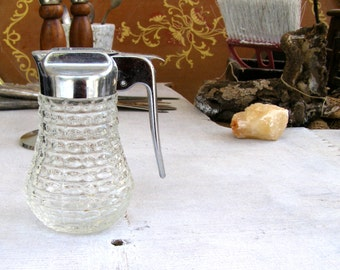 Retro Cafe Glass Pitcher, Vintage Table Serving Oil Vinegar Sugar Dish, Lidded Pitcher, Restaurant Tableware, Rustic Kitchenware, Photo Prop