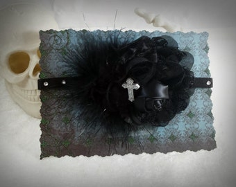 Gothic Headband - Black Headband - Floral Headband