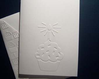 Set of Six Embossed Cupcake Birthday Card