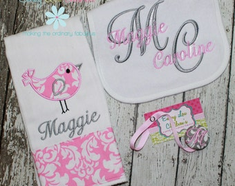 Personalized Baby Gift Set - Set of One Personalized Burp Cloth, Pacifier Clip and Bib - Personalized Gift Set
