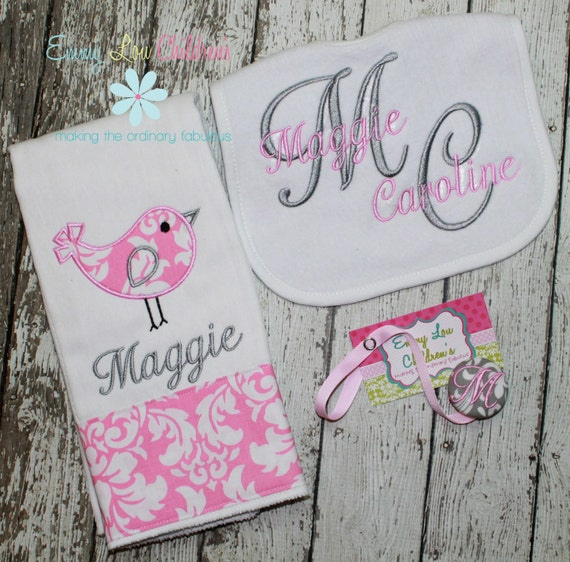 Personalized Baby Gift Sets : Personalized baby gift set of one burp