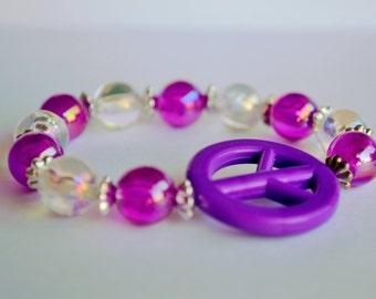 Girls purple peace bracelet