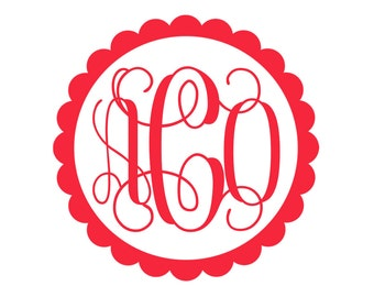 5 inch Scalloped Monogram Decal - Car Decal - Monogram Decal - Vinyl - Computer Decal -