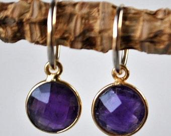 SALE Amethyst Earrings - February Birthstone Earrings - Dainty Gold Hoop Earrings - Natural Amethyst Jewelry