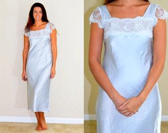 1970s Vintage Light Blue Valentino Slip Nightgown
