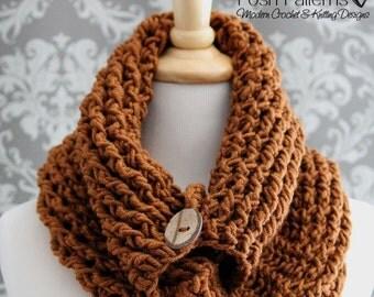 Crochet PATTERN - Crochet Button Cowl - Infinity Scarf Crochet Pattern - Crochet Patterns for Women - Crochet Pattern Scarf - PDF 420