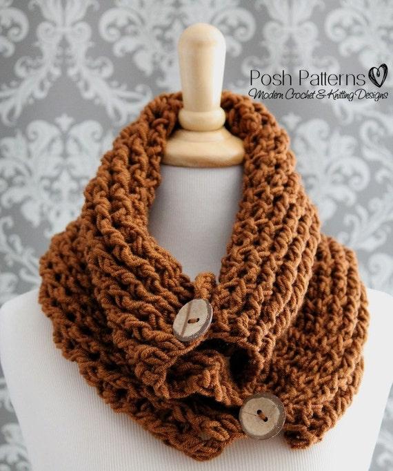 Crochet PATTERN Crochet Button Cowl Infinity Scarf Crochet