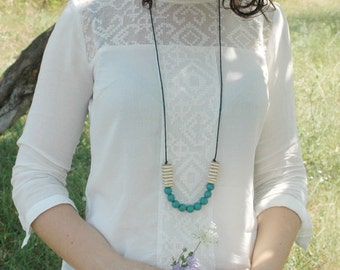 Long beaded necklace, wood necklace, blue necklace,wooden boho  necklace