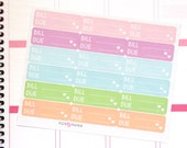 MO04 - Pastel Bill Due Planner Stickers, Perfect for EC/PPP/Kikki K Planners