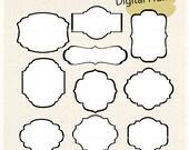 ON SALE frames clipart, black and white frames, black line frames, frame A-216, label, tag, scrapbooking clipart, instant download