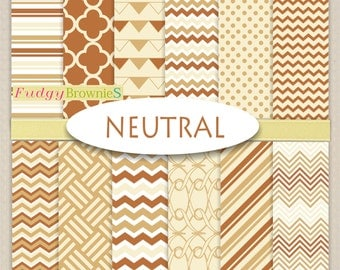 "ON SALE Neutral Digital Paper Set _Earth tones papers Set. Neutral Digital paper pack 12""x12"", No.261/2 printable background ,Brown papers"