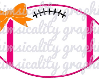 Football With Bow For Monogram with SVG, DXF, PNG Commercial & Personal Use