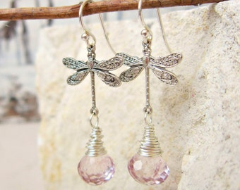 Silver Dragonfly Earrings. Pale Pink Mystic Quartz Earrings. Wire Wrapped Briolette Earrings. Dragonfly Jewelry. Gift for Dragonfly Lover
