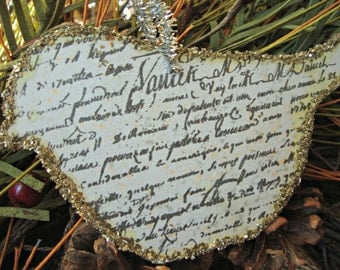 Rustic French Country Glittered Bird Ornament with French Script